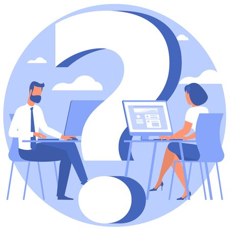 Young man and woman young man are solving problem. Question mark, looking for solution. Flat design vector illustration for presentation, infographics and mobile app.