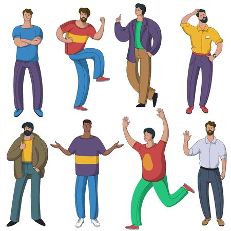 Set of vector men characters performing various activities. Group of people characters flat design style cartoon characters isolated on white background.