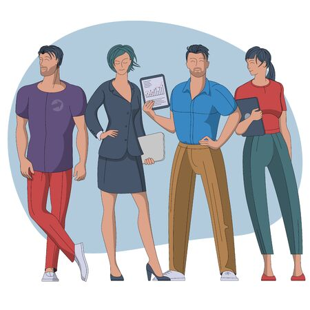 Group of young colleagues standing together. Office workers, students, young generation. Flat design vector conceptof team of cute professionals.