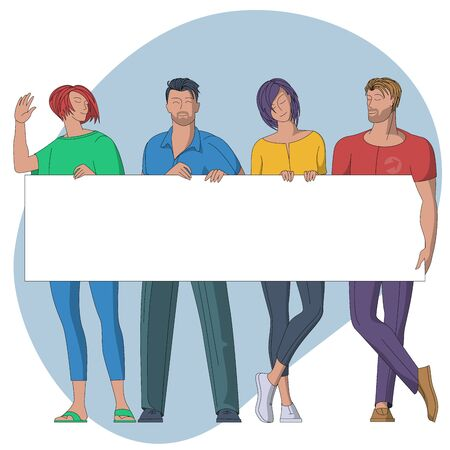 Flat design vector concept of group of people with empty banner. Young students and colleagues at work holding blank banner with place for text.