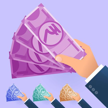 Flat design vector icon concept for hand with money. Ilustracja