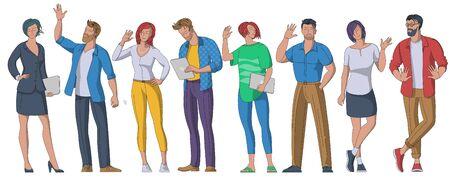 People greeting gesture flat vector illustrations set. Ilustracja
