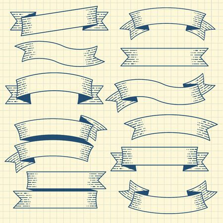 Set of vintage retro ribbons and banners. Old drawing engraving style design and decoration element set.