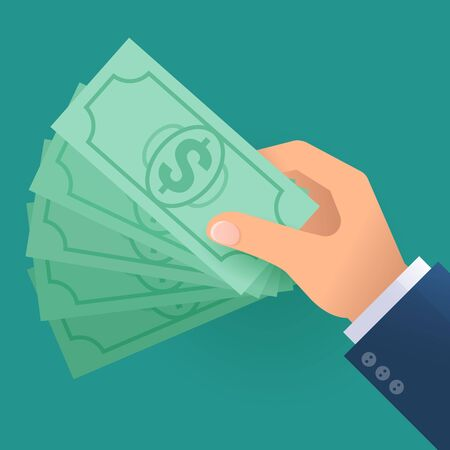 Flat design vector icon concept for hand with money. Illustration