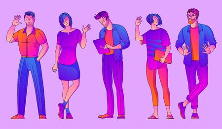 Group of young colleagues standing together. Office workers, students, young generation. Flat design vector concept of team of cute professionals. Ilustracja