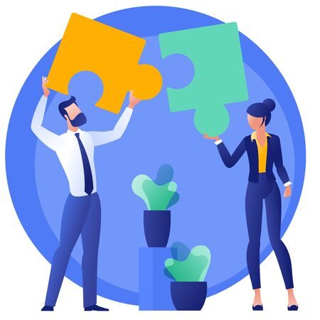 Flat design business teamwork concept. Team solution metaphor. Young buciness people solving puzzle, symbol of teamwork. Modern vector template for infographics, website, presentation and mobile app.