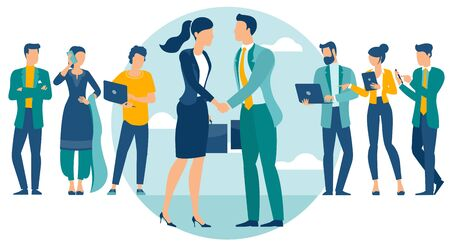 Business people shake hands after negotiation, came to agreement and completed the deal with a handshake. Flat design vector concept for web site and application design and presentation.