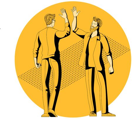 Young colleagues people giving high five. Cheerful friends and colleagues informal greeting. Flat design cartoon style vector concept.
