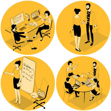 Black and yellow flat design isometric vector illustration of business communication in modern office. Trendy color template for teamwork and workflow for presentation, website and app design. Ilustracja