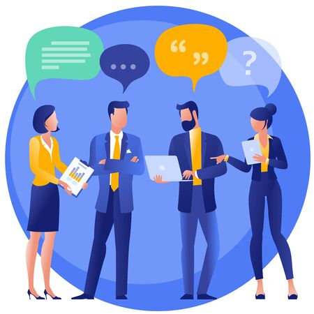 Flat design social network communication vector concept illustration of group of people chatting with speech bubbles. Template for web design, banner, mobile app, landing page and infographics.