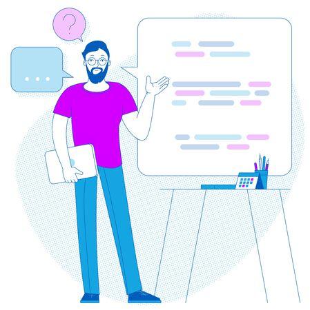 Flat design business report presentation infographic vector concept. Office spokesman meeting room report business collaboration teamwork brainstorming.