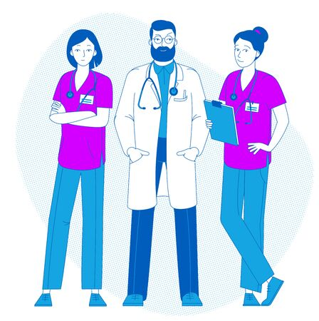 Doctor standing with nurses. Doctor with stethoscope. Nurse day. Health Care. Young doctor in uniform. Medicine. Ilustracja