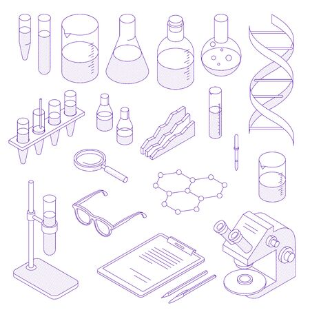 Thin line isometric laboratory icon set. Collection of science thin line icons. Pack of symbols for design website, mobile app, printed material, etc. Ilustracja