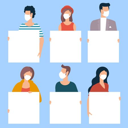 Group of people wearing medical masks to prevent disease, flu, air pollution, contaminated air, holding blank posters. Vector flsat design illustration template.