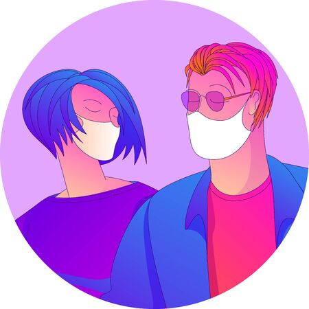 Young man and woman wearing medical masks to prevent disease, flu, air pollution, contaminated air. Vector flsat design illustration concept. Ilustracja