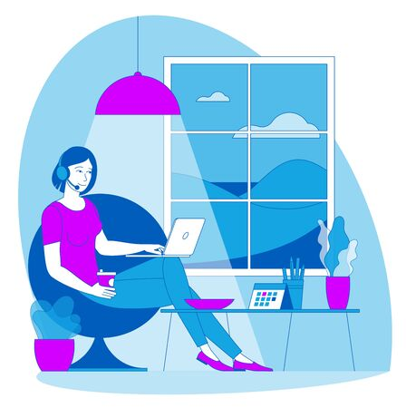 The best place for remote work. Young woman is working outsourced. lat design vector illustration, ready to animation vector concept for web site, presentation, mobile app.