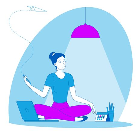 The best place for remote work. Young woman is working outsourced sitting on the floor. lat design vector illustration, ready to animation vector concept for web site, presentation, mobile app.