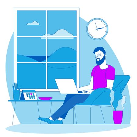The best place for remote work. Young man is working outsourced. lat design vector illustration, ready to animation vector concept for web site, presentation, mobile app.
