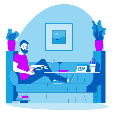 The best place for remote work. Young man is working outsourced sitting on the couch. lat design vector illustration, ready to animation vector concept for web site, presentation, mobile app. Ilustracja