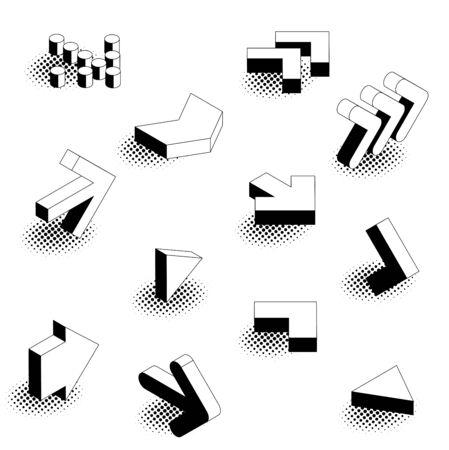 Flat design retro comic style isometric arrow icon set.
