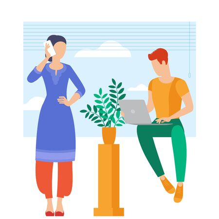 The best place for remote work. Young man and woman is working outsourced. lat design vector illustration, ready to animation vector concept for web site, presentation, mobile app. Zdjęcie Seryjne - 150143650