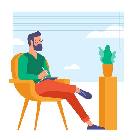The best place for remote work. Young man is working outsourced. lat design vector illustration, ready to animation vector concept for web site, presentation, mobile app. Zdjęcie Seryjne - 150143653