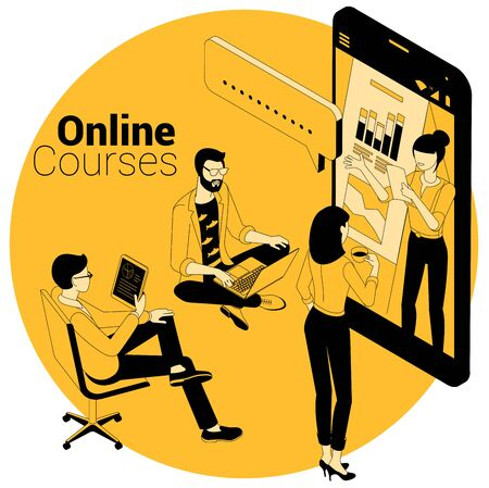 Isometric vector concept for online courses, education, training, learning and video tutorials. Flat design ink draring black and yellow template for web site, banner, promotion, poster and mobila app.