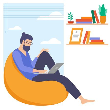 The best place for remote work. Young man is working outsourced. lat design vector illustration, ready to animation vector concept for web site, presentation, mobile app. Zdjęcie Seryjne - 150143658