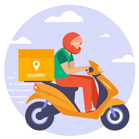 Flat design vector illustration of scooter courier. Online delivery service concept, online order tracking, delivery home and office.