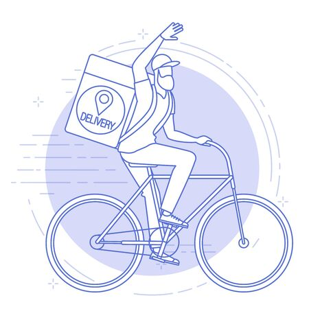 Flat design vector illustration of bicycle courier. Online delivery service concept, online order tracking, delivery home and office.