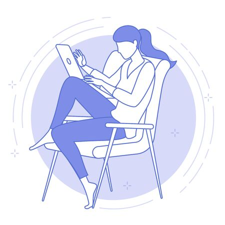 Flat design icon of the best place for remote work. Young woman is working outsourced. lat design vector illustration, ready to animation vector concept for web site, presentation, mobile app. Zdjęcie Seryjne - 150415496