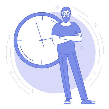 Thin line blue icon of time management and planning concept with young man standing in front of the big office clock. Flat design networking vector web banner template, line art. Illustration