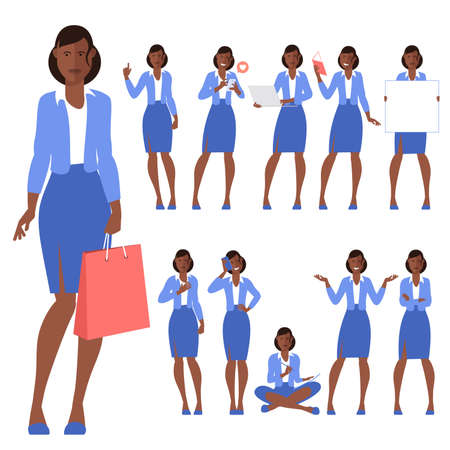 Set of flat design young black afro american woman characters, various poses and gestures and everyday activities. Learning, chatting, phonning, working. Ilustracje wektorowe