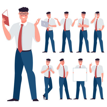 Set of flat design young businessman characters. Various poses, gestures and everyday activities. Working, chatting, phonning, working and showing different emotions. Zdjęcie Seryjne - 153549371