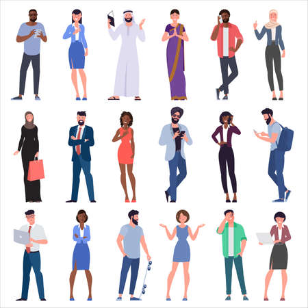 Flat design vector set of multicultural, black, caucasian, arab, muslim and indian people characters are acting and communicaing. Trendy modern style vector illustration in flat cartoon style. Zdjęcie Seryjne - 153569881