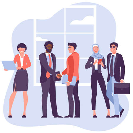 Two young businessmen shaking hands flat vector characters. International partnership isolated clipart. Successful negotiations, agreement cartoon illustration. Business partners meeting. Vektorgrafik