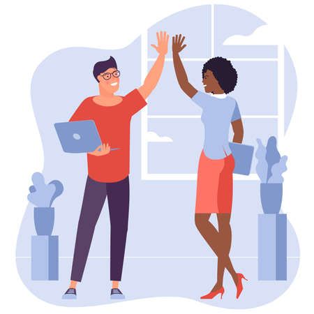 Teamwork. Office workers, young man and woman give high five each to other. Flat design vector concept of a successfully performed task. Zdjęcie Seryjne - 155158159