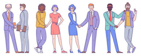 Diverse business people, men and women, young and elder shake hands after completed the deal. Flat design vector element set for infographics, web site and mobile app design, ad and presentation.