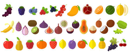 flat design fresh raw fruits and berries vector icon end design element set Illustration
