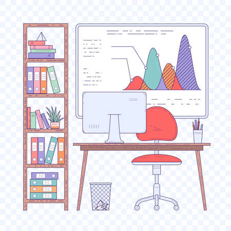 Flat design vector concept of workplace in the creative modern office open space. Vektorové ilustrace