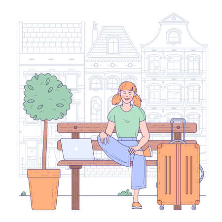 Young woman sitting in airport terminal. Flat design vector travel and vacation concept. Illustration
