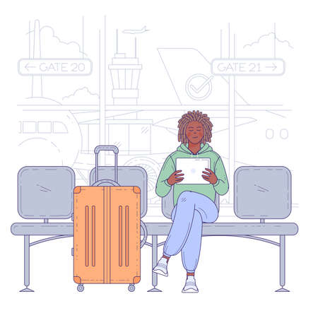 Young man sitting in airport terminal. Flat design vector travel and vacation concept.