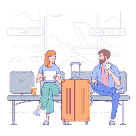 Young man and woman sitting in airport terminal. Flat design vector travel and vacation concept.