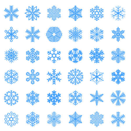 Flat design snowflakes vector Christmas and new year decoration element set.