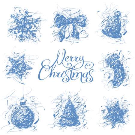Christmas decoration hand drawn calligraphic design element collection Illustration