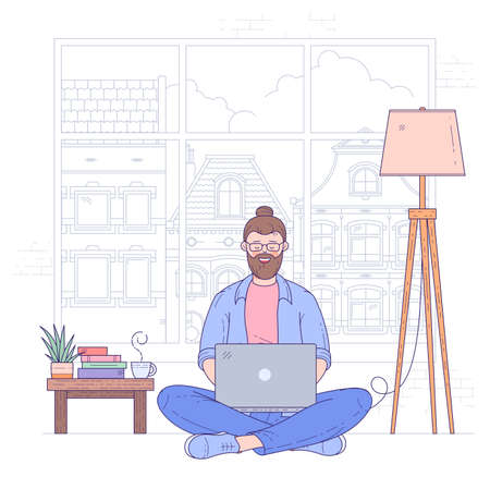 Young man sits on the floor cross-legged near coffee table with notebook, working online. Self-employed freelancer remote solves business issues online with client. Flat design vector concept.