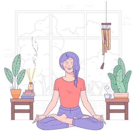 Young woman doing yoga at home, sitting in lotus posture with closed eyes. Flat design vector concept.