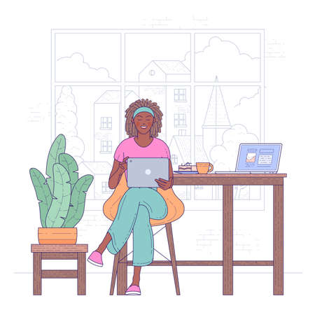 African american freelancer woman work from home vector flat illustration. Black skin female hold working with laptop online.Modern girl relaxing at kitchen surfing internet