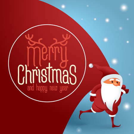 Santa Claus with a huge bag on the run to delivery christmas gifts. Flat design Merry Christmas vector greeting card an concept for banner, landing and mobile app.
