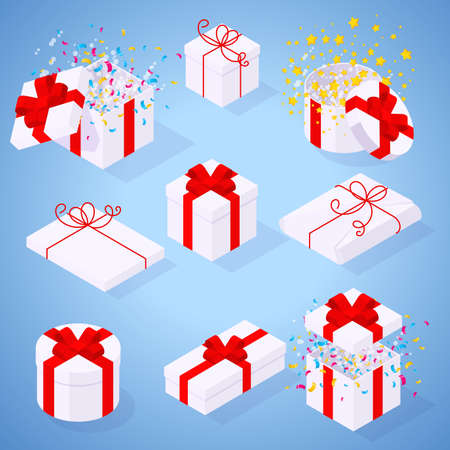 Flat design isometric white gift box and wrapped gifts with red ribbons and bow desitn elements and icon set for Christmas and New Year greeting card, poster, banner, web page and mobile app